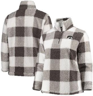 Women's Gray/Cream Iowa Hawkeyes Plus Size Plaid Sherpa Quarter-Zip Pullover Jacket