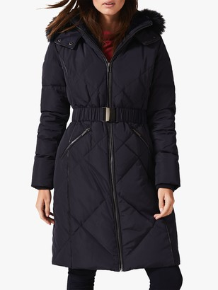 Phase Eight Lacey Faux Fur Trim Puffer Coat, Navy