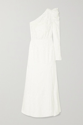 Les Rêveries One-shoulder Ruched Silk-jacquard Gown - Ivory