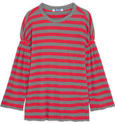 Sjyp Ribbed Striped Cotton Top - Red