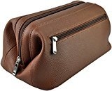Royce Leather Colombian Vaquetta Cowhide Toiletry Bag (One-Size, Tan Pebbled)