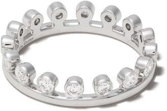 De Beers 18kt white gold Dewdrop diamond one line band