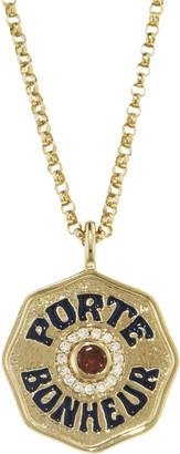 Marlo Laz Mini Garnet, Diamond and Navy Enamel Porte Bonheur Coin Necklace - Yellow Gold