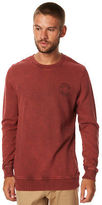rhythm New Men's Washed Out Mens Pullover Crew Neck Cotton Polyester Red