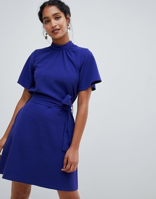 Closet London high neck short sleeve belted dress
