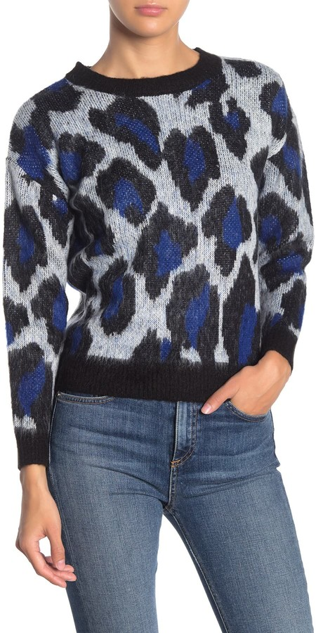 Love by Design Leopard Print Fuzzy Knit Pullover Sweater
