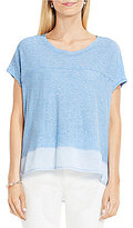 Vince Camuto Two by Crew Neck Short Sleeve Mix Media Hi-Low Hem Tee