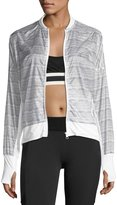 Blanc Noir Feather Weight Stripe-Print Jacket