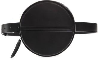 DSQUARED2 Black Leather Logo Round Belt Bag