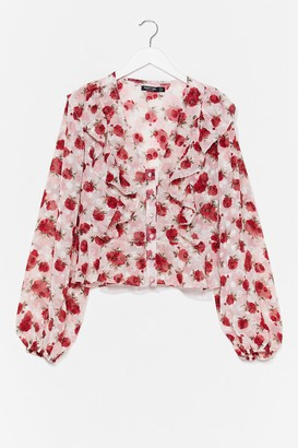 Nasty Gal Womens Came Up Roses Floral Ruffle Blouse - White