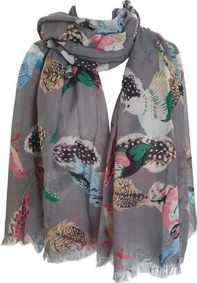 GlamLondon Bird Print Scarf Ladies Lightweight Fashion Oversize Wrap (Z-Feather-Grey)