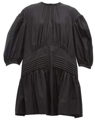 Simone Rocha Pintucked Tie Neck Cotton Dress - Womens - Black