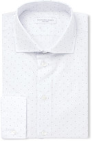 Richard James White Slim-Fit Cutaway-Collar Micro-Dot Cotton-Poplin Shirt