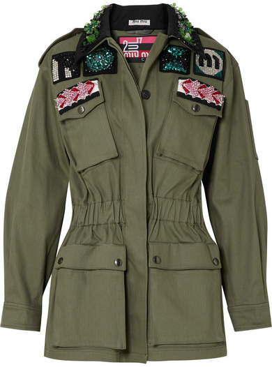 Miu Miu Oversized Embellished Cotton-blend Drill Jacket - Green
