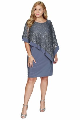 R & M Richards R&M Richards Women's Plus Size Missy one Piece Short Sequins Poncho Over Sheath Dress