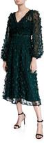 Carmen Marc Valvo Floral Embellished V-Neck Long-Sleeve Midi Dress
