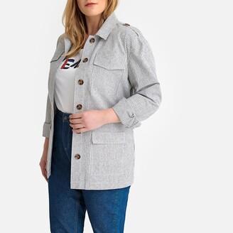 Castaluna Plus Size Cotton Mix Utility Jacket in Striped Print