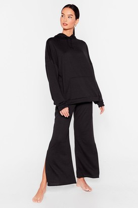 Nasty Gal Womens Splitting Our Time Hoodie and Wide-Leg Trousers Set - Black - S