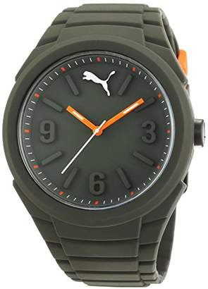Puma Time Unisex Quartz Watch with Green Dial Analogue Display and Silicone Green