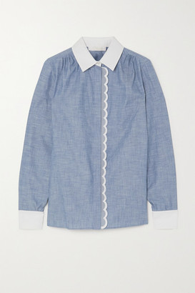 Chloé Scalloped Cotton-chambray Shirt - Light denim