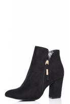 Quiz Black Faux Suede Gold Zip Heeled Ankle Boots