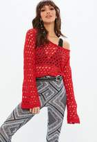 Missguided Red Plunge Open Stitch Longline Sweater
