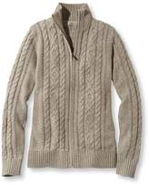 L.L. Bean L.L.Bean Double L Mixed-Cable Sweater, Zip-Front Cardigan Marled