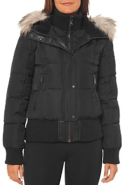 Vince Camuto Faux Shearling Lined Hood Bomber Coat