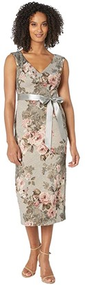 Adrianna Papell Metallic Matlesse Floral Midi Dress with Ribbon (Slate/Blush Multi) Women's Dress