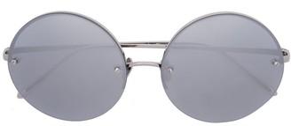 Linda Farrow grey White Gold 565 C2 Round Sunglasses