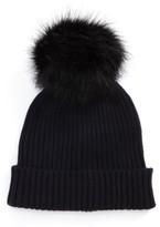 Capelli of New York Women's Faux Fur Pom Knit Beanie - Black