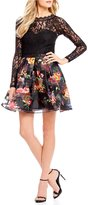 Sequin Hearts Lace Top with Striped Floral Skirt Two-Piece Dress