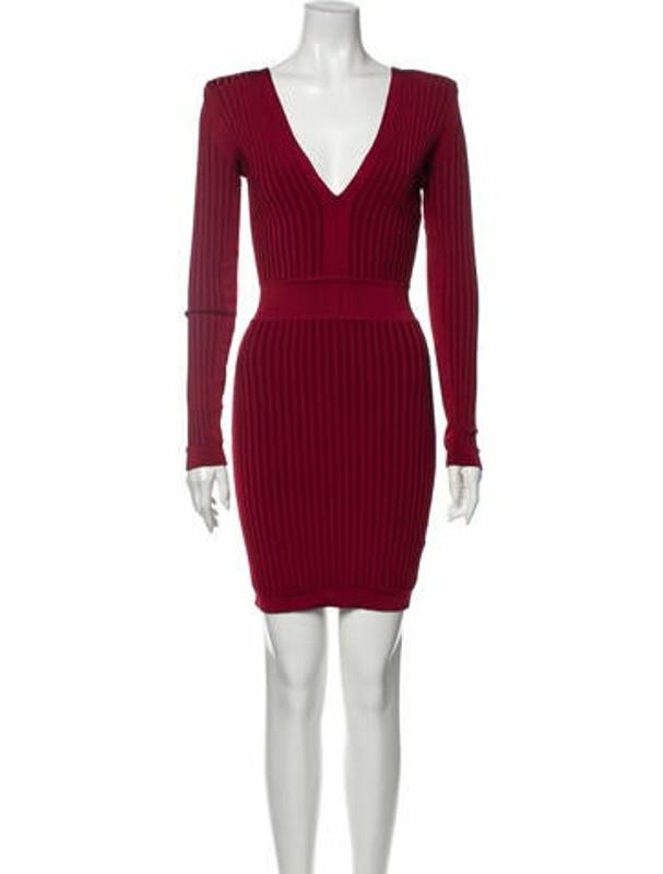 Balmain V-Neck Mini Dress Red