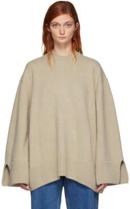 MAISON KITSUNÉ Beige Zipped Sides Crewneck Sweater