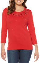 Rafaella 3/4 Sleeve Crew Neck T-Shirt-Womens
