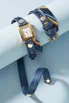 La Mer Navy Beaded Wrap Watch
