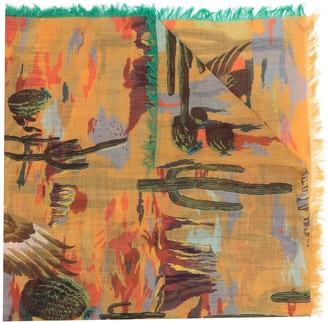 Etro Abstract-Pattern Print Cashmere Scarf