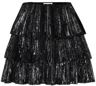 Saint Laurent Pleated lame velvet miniskirt