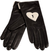 Diane von Furstenberg Black/Parchment Leather Keyhole Heart Gloves