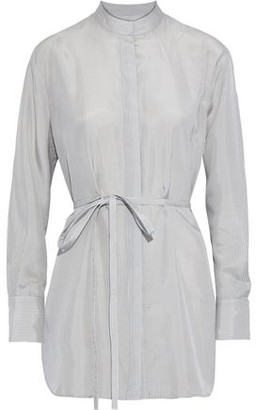 Co Belted Striped Silk Tunic