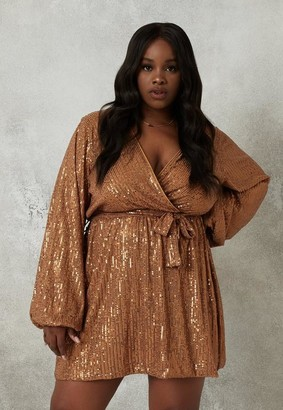 Missguided Plus Size Bronze Sequin Balloon Sleeve Wrap Mini Dress