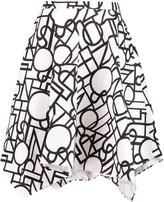 Raoul Piper pleated asymmetric cotton-blend skirt