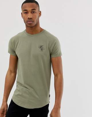 French Connection muscle fit logo curved hem t-shirt-Green