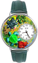 Whimsical Watches Personalized Turtle Womens Silver-Tone Bezel Green Leather Strap Watch
