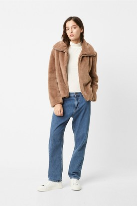 French Connection Buona Faux Fur High Neck Jacket