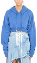 Off-White Simple Crop Blue Hoodie Sweatshirt