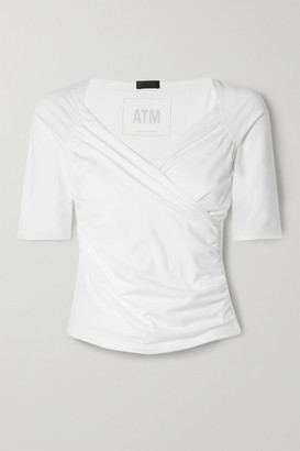 ATM Anthony Thomas Melillo Wrap-effect Gathered Stretch-pima Cotton-jersey Top - White