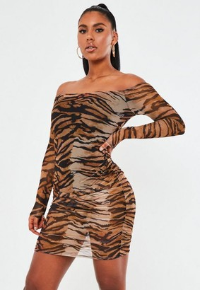 Missguided Brown Leopard Mesh Bardot Mini Dress