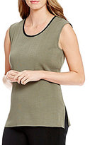 Misook Scoop Neck Side Slit Tank