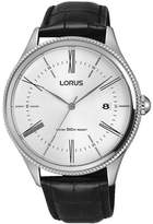 Lorus Men's 41mm Black Leather Band Steel Case Quartz Analog Watch Rs923cx9